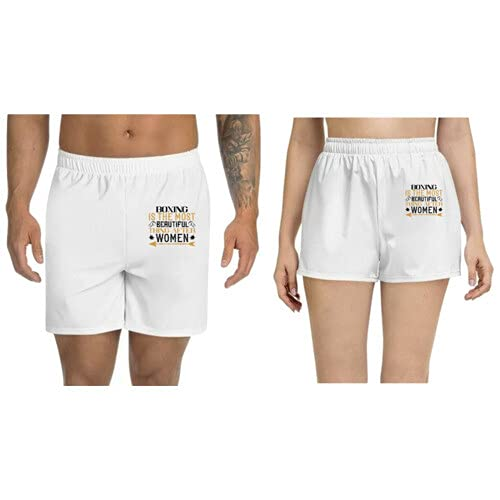UDNAG Unisex Regular fit 'Boxing   Boxing is The Most Beautiful Thing After Women' Polyester Shorts [Size S/28In to XL/40In] White