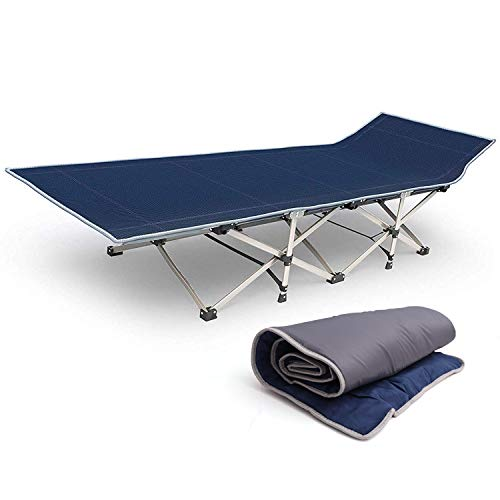 Kurtzy Folding Bed Cloth Cot with Portable Mattress Pad for Camping Picnic and Outdoor(Blue)