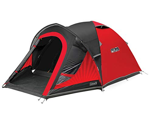 Coleman Polyester Blackout 3 Dome Tent 3 Man Camping Tent With Fibreglass Poles, 4500Mm (Red/Black)