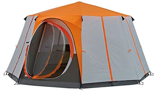 Coleman Polyester Cortes Octagon 8 Person Family Tent With Wheeled Carry Bag, 2000 Mm (8 Person, Orange)