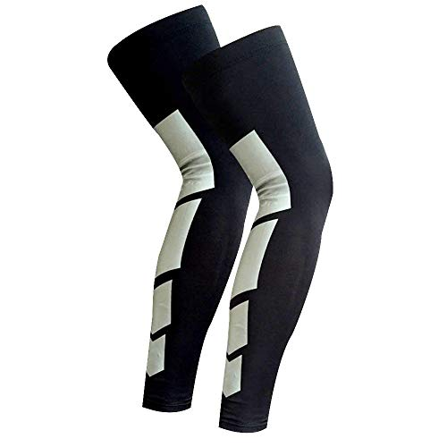 Just Care 1 Pair Anti Slip Full Length Compression Leg Sleeve Calf & Shin Splint Support Protect for Pain Relief & Recovery (Black, L)