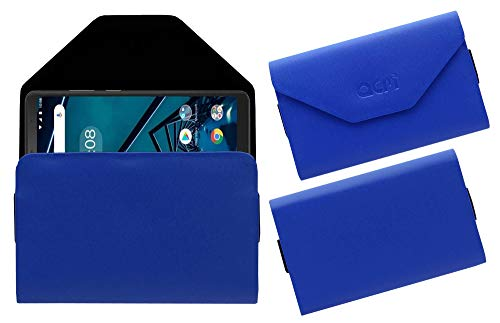 Acm Premium Pouch Case Compatible with Lenovo Tab V7 Phablet Za4L0052In Tablet Flip Flap Cover Blue
