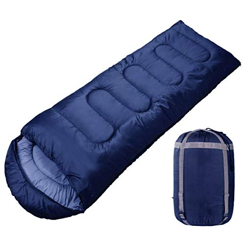 FOBHIYA® International Sleeping Bag, Portable and Lightweight for 2-3 Season Camping, Hiking, Traveling, Backpacking and Outdoor Activities (Standard Size) (Blue)