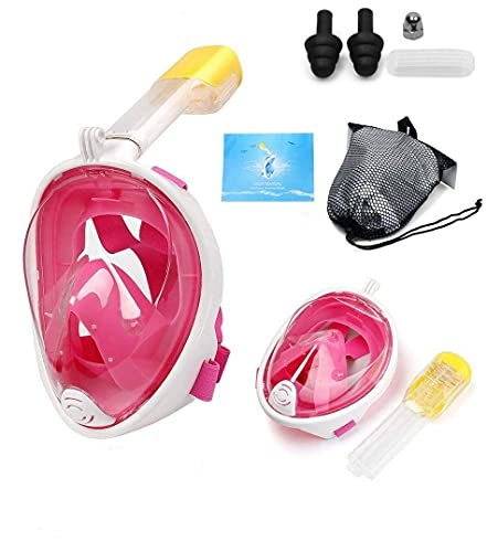 olpad Full Face Snorkel Mask with Detachable Camera Mount, 180 Panoramic Anti-Fog Anti-Leak Diving Mask with Safety Breathing System for Adult and Kids(Multi)(L/XL)