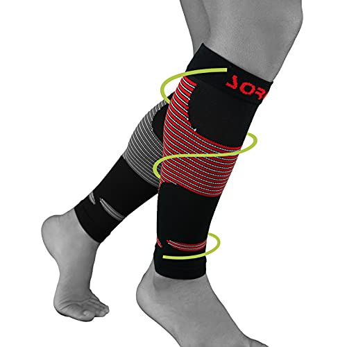 Sorgen Calf Compression Sleeves for Shin Splints Footless Compression Socks for Calf Pain, for Torn Calf Muscle, Strain, Sprain, Pain Relief, Tennis Leg, Injury for Men and Women (1 Pair, LARGE)