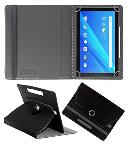 Acm Rotating Leather Flip Case Compatible with Lenovo 10 Inch Byju Tablet Cover Stand Black