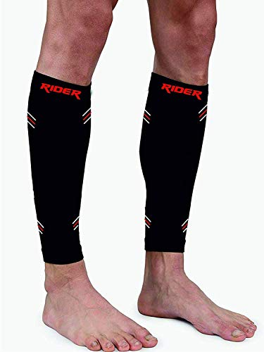 Just rider Calf Compression Sleeve - Leg Compression Socks for Shin Splint, Calf Pain Relief - Men, Women, and Runners - Calf Guard for Running, Cycling - 1 Pair (Black, L)