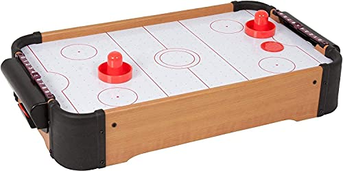 CBOX Wooden Indoor Air Hockey Game Table, A Toy for Girls and Boys,Table- Top Game for Kids, Teens, and Adults- Battery-Operated Batteries