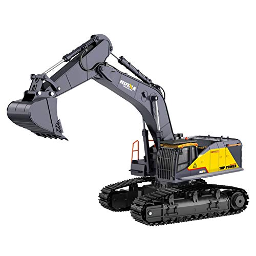 Decdeal HUINA 1592 1:14 RC Excavator 2.4hz Electric Remote Control Excavator Toy RC Construction Tractor Digger Car Metal Shovel Light Sound RC Car for Boys irls Adult