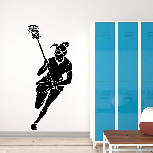 Gadgets Wrap Wall Decals Lacrosse Girl Player Stick Sports Game Ball Vinyl Wall Stickers Teen Room