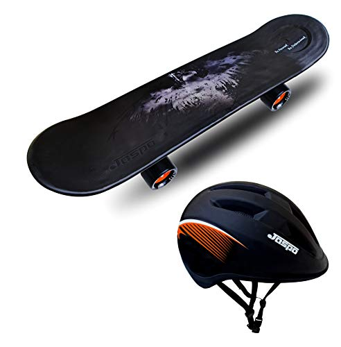 jaspo Boy's and Girl's Power Kids Fiber Skateboard for Beginners (Black, 26' , 6 Years and Above, Dual)