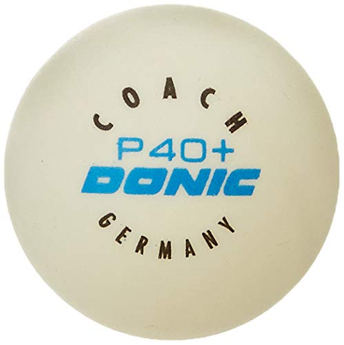 Donic Coach P40+ Plastic Tennis Ball, Size 40 mm (White)
