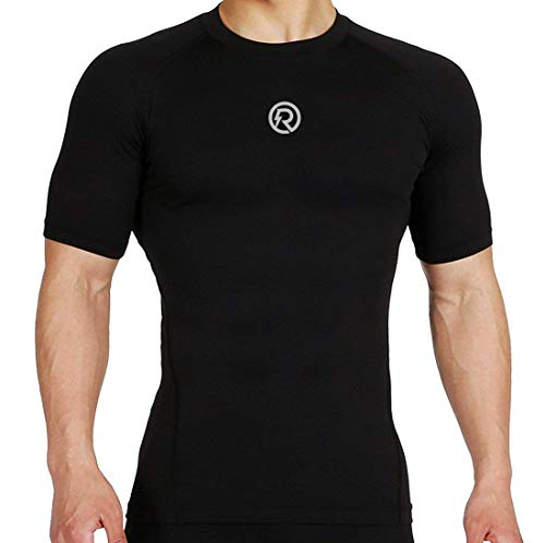 ReDesign Apparels Recharge Men's Polyester Compression Half Sleeves T-shirt (Black, Small)