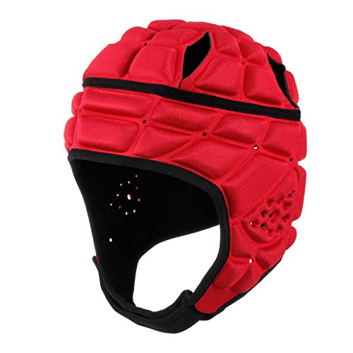surlim Rugby Helmet Headguard Headgear for Soccer Scrum Cap Soft Protective Helmet for Kids Youth Red Small