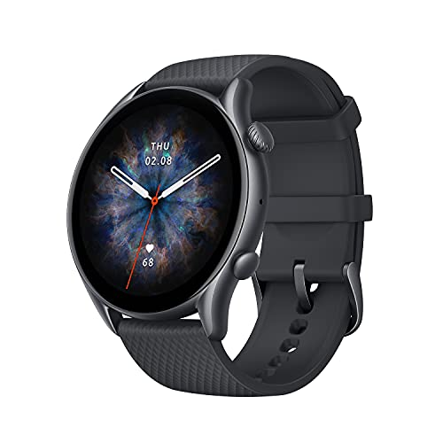 """Amazfit GTR 3 Pro Smart Watch with Alexa, GPS, WiFi, 12-Day Battery Life, Fitness Tracker 150 Sports Modes, 1.45""""AMOLED Display, Blood Oxygen Heart Rate Tracking, Waterproof (Infinite Black)"""