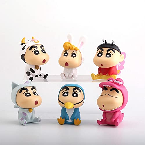 Mubco | Cartoon Characters Mini Model Shin Chan Statue Toys Action Figure Collectable | Cake Topper Decoration Showpiece Toys for Kids Set of 6.