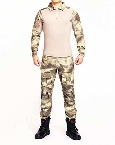 Commando Camouflage Frog Suits Camouflage Pants Tactical Pants Jungle Camouflage Army Uniform (Yellow Ruins camo, XXL)