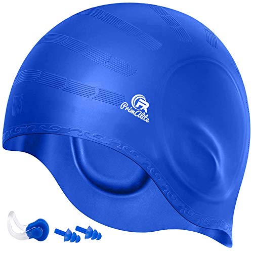 Primalite Long & Short Hair with Ear Pocket, Waterproof Silicone Swim Caps for Adults Men Women Kids (Blue)