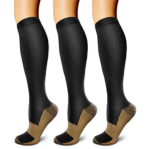 CHARMKING Men and Women Copper 15-20 mmHg Boost Performance Blood Circulation and Recovery Compression Socks (Black, Large/XL) -3 Pairs