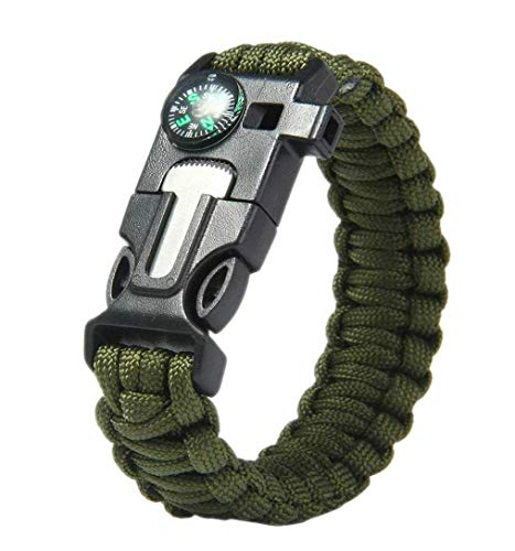 PROTOS INDIA.NET ™ Survival Bracelet Wrist Strap Flint Fire Starter for Camping Hiking Multi Function Paracraft Outdoor Emergency Rope Bangles Compass Whistle