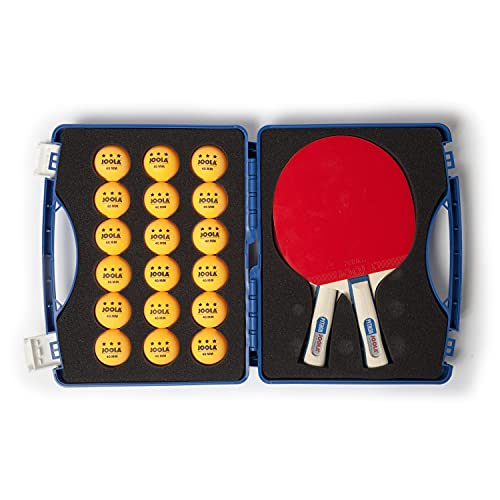 JOOLA Tour Competition Carrying Case - Ping Pong Paddle Set Includes 2 ITTF APPROVED Python Table Tennis Paddles & 18 40mm 3 Star Tournament Ping Pong Balls - High Density Case with EVA Foam Lining