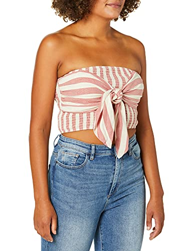 Moon River Women's Tie Front Striped Smocked Strapless Stretch Crop Tube Top, Red Stripe, m