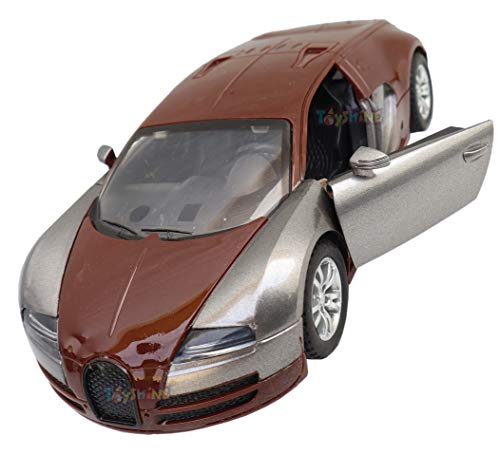 Toyshine 6 Inches Plastic Super Sports Model Toy Car with Music, Lights and Opening Doors - Dark Brown