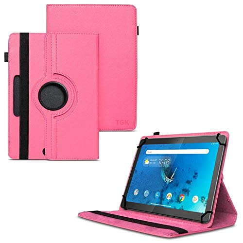 TGK 360 Degree Rotating Universal 3 Camera Hole Leather Stand Case Cover for Lenovo Tab M10 (HD) TB-X505X Tablet 10 inch - Hot Pink