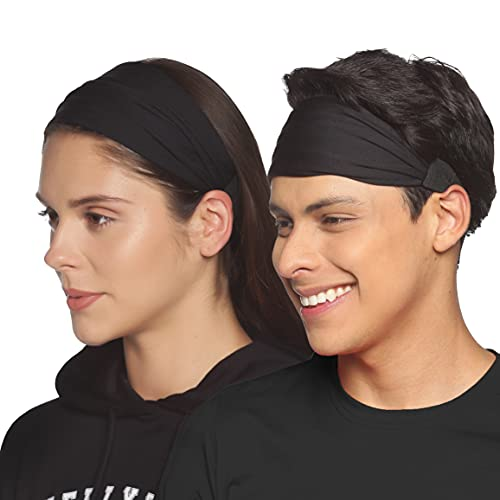 Boldfit Gym Headband for Men and Women - Sports Headband for Workout & Running, Breathable, Non-Slip & Quick Drying Head Bands for Long Hair (Black), One Size (HeadBandBlack)