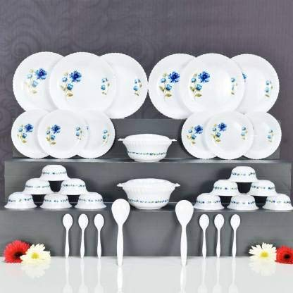 Dinner Set of 36psc Exclusive, Microwave Safe Plastic Printed Round Dinner Set. 6 Big PLATS, 6 Small PLATS , 12 Small Bowl,2 Big Spoon and 6 Table Spoon 2 Big Bowl with 2 LID, Multi Color