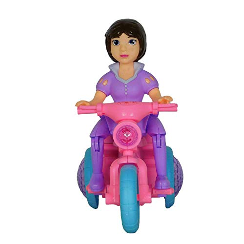 Fab 5 360 Degree Rotating Interesting Electric Stunt Tricycle Motorcycle Featured with Bump & Go Toy with Flashing Light & Sound and Dazzle Color 3D Lights. (Pink - Girl)
