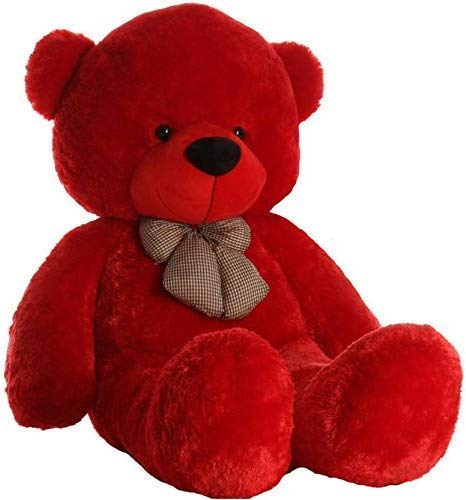 R k Gift Gallery Stuffs Soft and Plush 3 Feet Red Teddy Bear Stuffed Toy with Neck Bow Tie - 90 cm (RED, 3 FEET)