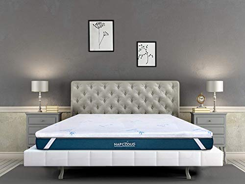 NAPCLOUD SoftNap 2 Inches Cool Gel Memory Foam Topper (White and Blue, 72 x 36 x 2 Inch)