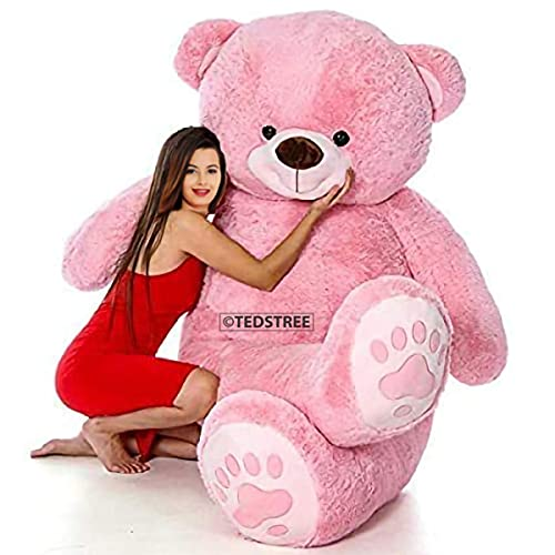 TEDSTREE 3 Feet/ 91cm Skin Friendly Ultra Soft Giant Stuffed Teddy Bear with Paw Printed Perfect for Presents, Valentines Day, Kids, Girlfreind, Wife, Husband, Girls (Pink - 3 Feet/ 91cm)