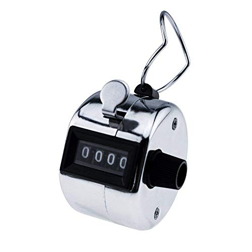 SYGA Hand Tally Counter, Digit Number Lap Counter Manual Mechanical Clicker with Finger Ring - Silver