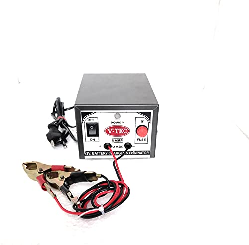 V-TEC CH011A Battery Charger 12 Volt 5AMP for Car/Bike/Truck Batteries - Suitable for 7ah to 150ah Capacity Batteries