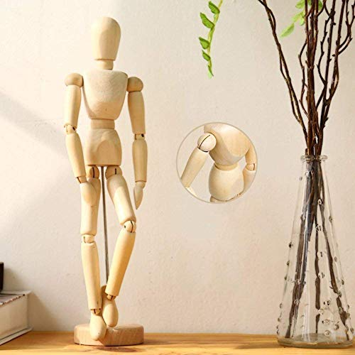 Glimpse Wooden Human Art posable Drawing Flexible Joints Mannequin Manikins Figures Doll Model for Artists Sketch Charcoal Home Office Desk Decoration Children Toys Gift (20cm)