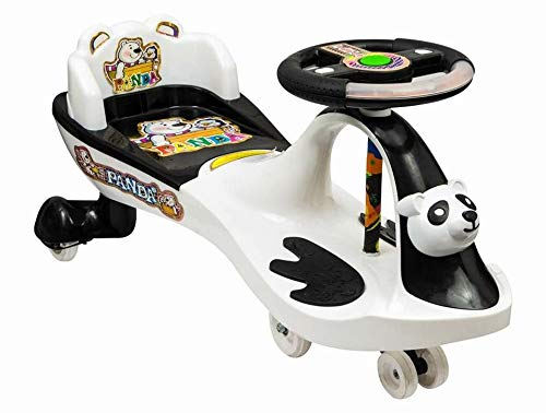 Goyal's Panda Magic Car with Back Rest, Music & Lights, Suitable for Age 2 - 8 Years (Black & White)