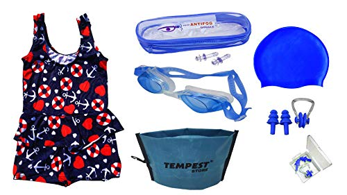 TEMPEST Swimming Kit for Girls   Kids with 1 Swimming Costume   Swim Suit   Swimwear   Swimming Dress Goggles Cap Ear Plug Nose Clip with Free KIT Bag (6-7 Years)