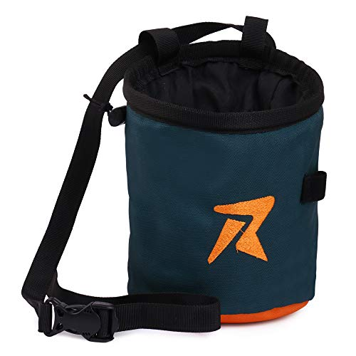 Rocksport Rock Climbing Chalk Bag with Belt and Zipper Pocket, Waterproof Nylon Designed for Both Indoor and Outdoor Climbing (Color May Vary)