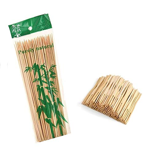SERVMART Bamboo BBQ Sticks (10 inches) with Mini Forks Combo, 50 pcs Each