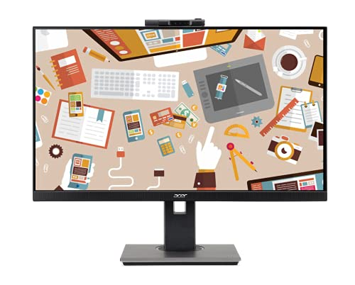 Acer B227Q 21.5 Inch IPS Full HD LED Monitor I FHD Adjustable Webcam I Height Adjustment & Pivot I HDMI, VGA and Display Port I Eye Care Features I Suitable for Work & Study from Home