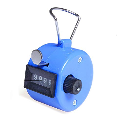 ADD GEAR Resettable Lap Counter 4 Digit Counting Machine Heavy Duty Manual Click Pooja Mantra Jap Tasbeeh Chanting Finger Counter Tally (Blue)