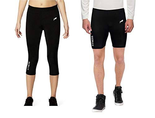 JUST RIDER 3/4th Lower Compression Tight Non-Padded Unisex & Compression Skin Tights Base Lower Non-Padded Unisex Half Shorts Plain Black for Fitness, Exercise & Others - Combo Pack (M, Black)