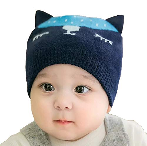 Ziory 1Pcs Navy Blue Winter Knitted Cartoon Lovely Cat Hat with Cute Ear Caps for Baby Boys and Baby Girls (6-12 months)