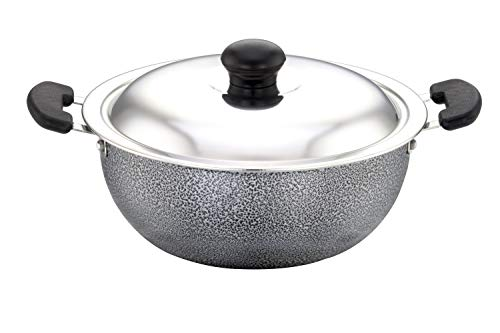 SOWBAGHYA Aluminium Non Stick Deep Kadai with Stainless Steel Lid (2 L, Grey and Black)
