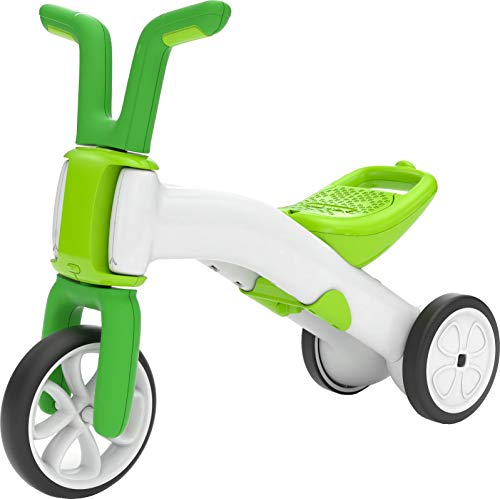 Chillafish Bunzi 2-in-1 Toddler Balance Bike and Tricycle, Ages 1 to 3 Years Old, Adjustable Lightweight First Gradual Balance Bike with Silent Non-Marking Wheels, Lime