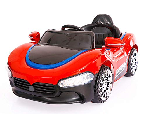 SRECAP PH 518 12V Battery Operated Ride on Car for Kids with Music, Lights and Remote Control, Red