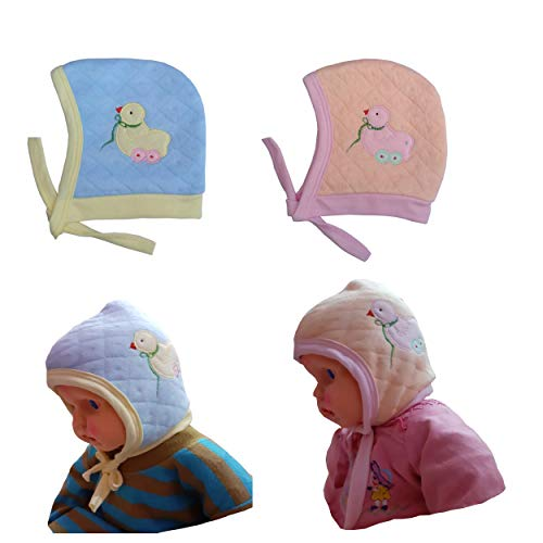 Preeti Baby Double Layer Ear Flap Caps in Warm Cult Fabric, Pack of 2 - (Pitch, Sky Blue, 0-6 Moths)