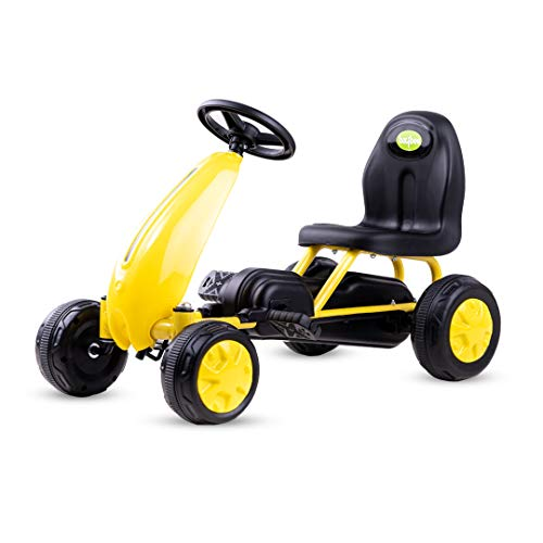 Baybee Kids Mini Kart Pedal Go Kart Racing Ride-On Toy Car for Baby with Curved Seat Baby Tricycle Kid's Trike, Bicycle | Pedal Cars for Kids, Tricycle for Boys & Girls Age 0-2 Years (Yellow)